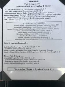 El Porteno Wine List - Red Wines